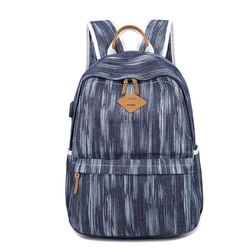 "Canvas Women Mens 14"" Navy Blue Travel Backpack Brown Computer Bag College Backpack for Men"