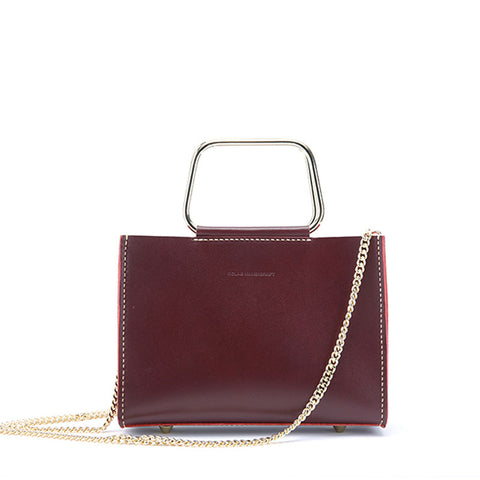 Cute Leather Red Womens Mini Chain Purse Handbag Chain Shoulder Bags for Women