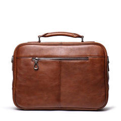 Fashion Brown Leather Men's Professional Briefcase 15'' Laptop Briefcase Business Handbag For Men