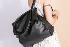 Handmade Genuine Leather Backpack Bag Shoulder Bag Black Women Leather Purse