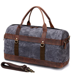 Cool Waxed Canvas Leather Mens Black Waterproof Travel Weekender Bag Duffle Bag for Men