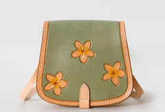Handmade Leather floral saddle bag shoulder purse for women leather shoulder bag