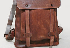 Handmade Leather satchel bag backpack bag men shoulder bag brown