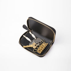 Handmade LEATHER Mens Small Zipper Car Key Wallet Leather Key Holders FOR Men