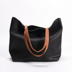 Fashion Handmade LEATHER Large Black WOMEN Tote Bag Tote Shoulder Purse FOR WOMEN