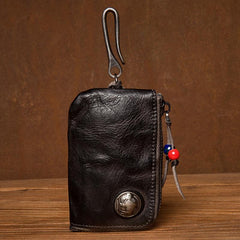 Black Leather Mens Small Car Key Wallet Brown Key Holder Coin Purse Brown Card Holder For Men