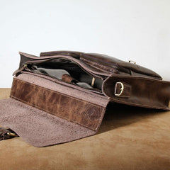 Genuine Leather Mens Cool Messenger Bag Briefcase Work Bag Laptop Bag for men
