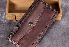 Genuine Leather Wallet Vintage Long Wallet Zip Folded Wallet Purse For Men Women