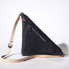 Black Leather Mens Triangle Sling Bag Sling Shoulder Bag Chest Bag for men
