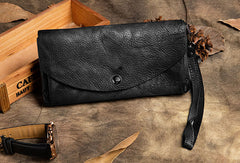 Handmade Long Leather Wallet Vintage Wallet Botton Clucth Purse For Women