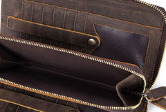 Handmade Genuine Leather Long Wallet Zip Bifold Wallet Purse Clutch Bag For Mens