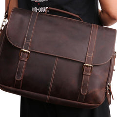 Leather Mens Vintage Large Brown Messenger Bag Laptop Shoulder Bag for Men