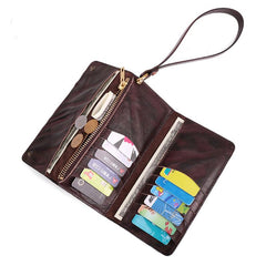 Cool Leather Long Wallet for Men Vintage Trifold Long Wallet Wristlet Wallet