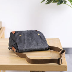 Wax Canvas Leather Mens 10'' Gray Side Bag Courier Bag Khaki Messenger Bag for Men