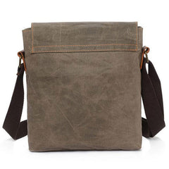Mens Waxed Canvas Small Side Bag Messenger Bag Canvas Courier Bag for Men