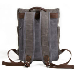 Waxed Canvas Leather Mens Backpack Canvas Travel Backpacks Canvas School Backpack for Men