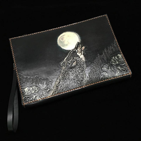 Black Handmade Tooled Leather Lion Chinese Dragon Clutch Wallet Wristlet Bag Clutch Purse For Men