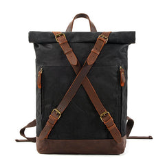 Cool Waxed Canvas Leather Mens 15.6'' Black Hiking Backpack Green Travel Backpack for Men