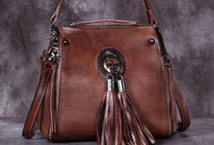Genuine Leather Handbag Vintage Tassel Crossbody Bag Shoulder Bag Purse For Women