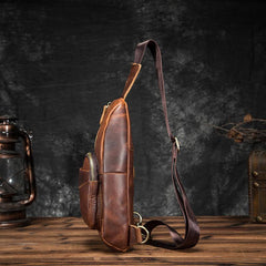 Cool Brown Leather Men's Sling Bag Chest Bag Vintage One Shoulder Backpack For Men