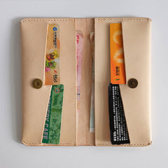 Handmade LEATHER Womens Long Wallets Leather Bifold Long Wallet FOR Women