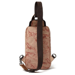 Rustic Canvas Leather Mens Sling Bag Chest Bag One Shoulder Pack for men