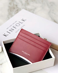 Women Red Leather Card Holders Small Card Wallet Minimalist Credit Card Holder For Women