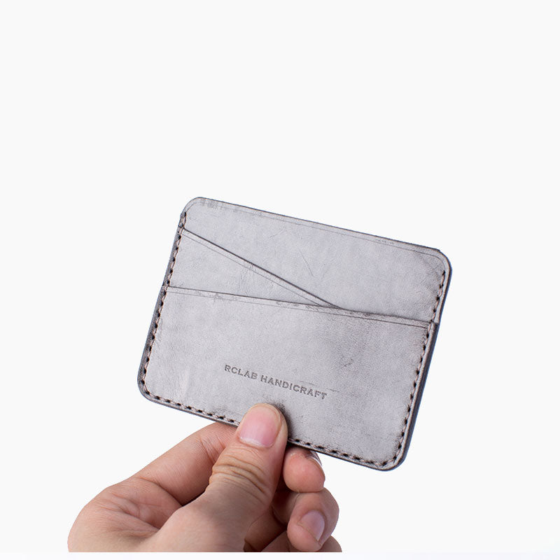 Handmade Cute Pink Gray Leather Women Small Card Holder Card Wallet for Men