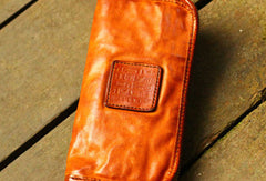 Genuine Leather Wallet Bifold Handmade Zip Long Wallet Purse Clutch For Mens