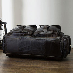 Cool Black Coffee Leather Men Barrel Overnight Bags Travel Bags Weekender Bags For Men