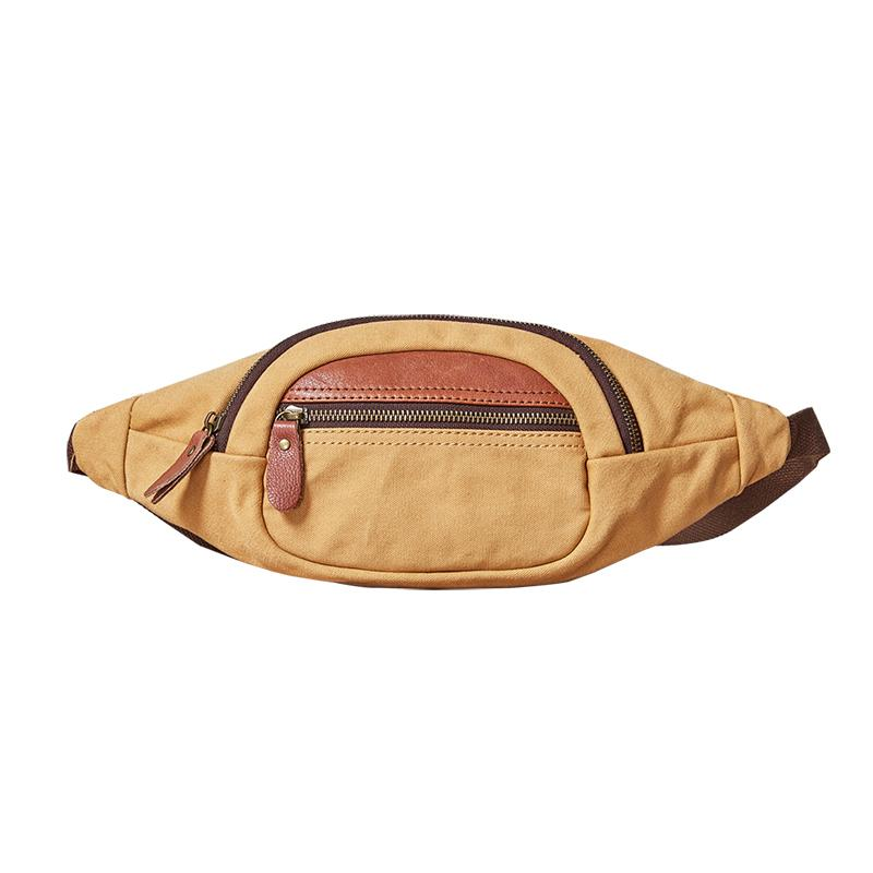 Canvas Leather Mens Womens Fanny Pack Canvas Waist Bag Small Hip Pack for Men