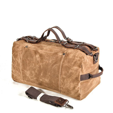 Casual Waxed Canvas Leather Mens Military Style Travel Weekender Bag Duffle Bag for Men