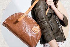 Genuine Leather Bag Semicircle Style Handmade Handbag Shoulder Bag Purse For Women
