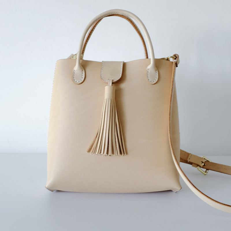 Handmade Leather Beige Womens Handbag Shoulder Bag Crossbody Purse Tassels for Women