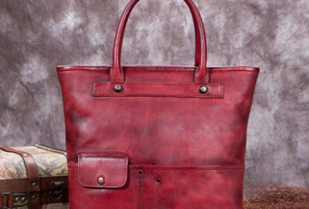 Genuine Leather Handbag Vintage Tote Bag Crossbody Bag Shoulder Bag Purse For Women