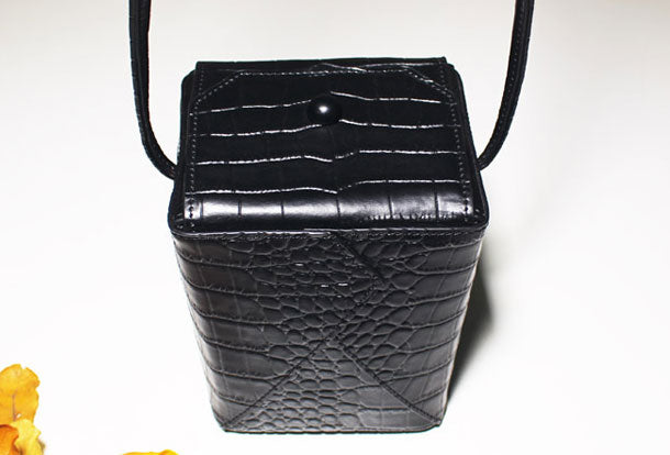 Genuine Leather Cube bag shoulder bag black for women leather crossbody bag