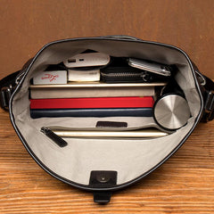 Fashion Black Leather 12 inches Mens Small Courier Bag Messenger Bags Postman Bag for Men
