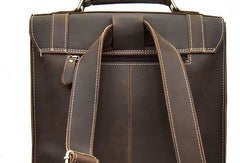 Genuine Leather Mens Cool Messenger Bag Backpack Large Black Travel Bag Hiking Bag For Men