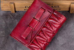 Genuine Leather Wallet Folded billfold Wallet Vintage Bowknot Wallet Purse Cute Gift For Women
