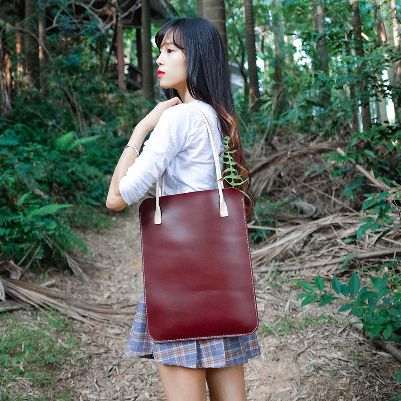 Handmade Leather Red Womens Slim Tote Shoulder Tote Bag for Women