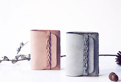 Handmade leather braided personalized custom clutch purse short wallet purse clutch women