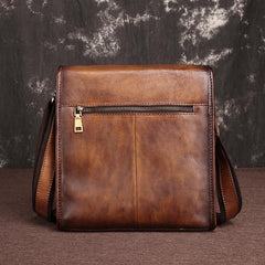 Vintage Brown Leather Men's Small Vertical Messenger Bag Side Bag Courier Bag For Men