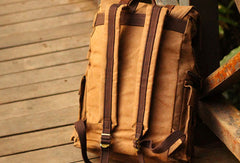 Mens Cool Canvas Backpack Sling Bag Large Black Travel Bag Hiking Bag for men