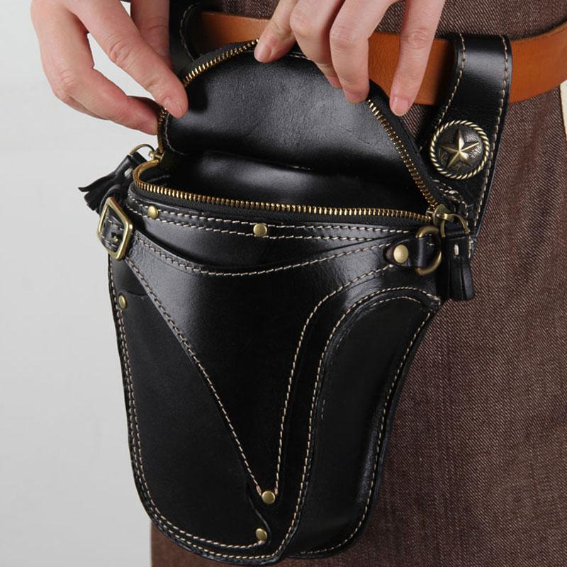 14ccf56e7d52 Leather Belt Pouch Mens Small Cases Waist Bag Hip Pack Belt Bags for M