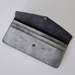 Handmade LEATHER Womens Long Wallet Leather Envelope Long Wallet FOR Women