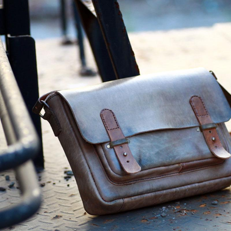1a12f3670758 Handmade Vintage Leather Mens Messenger Bags Coffee Shoulder Bags for
