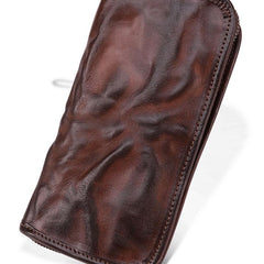COOL MENS LEATHER ZIPPER LONG CLUTCH WALLETs ZIPPER VINTAGE LONG WALLET FOR MEN