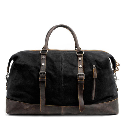 Cool Canvas Leather Mens Black Travel Weekender Bag Waterproof Duffle bag for Men
