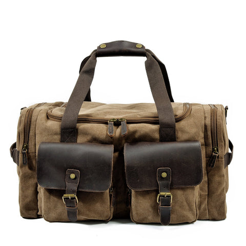 Cool Canvas Leather Mens Retro Large Green Travel Weekender Bag Duffle Bag for Men