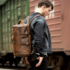 Cool Brown Mens Leather 14 inches Barrel Weekender Bag Bucket Travel Backpack for Men